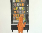 Alf art- Snack - cat-eating 80s alien watercolor wall art