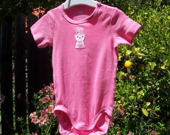 SALE Pink Bunny Short Sleeve Bodysuit, size 9-12 months only, ready to ship, OOAK