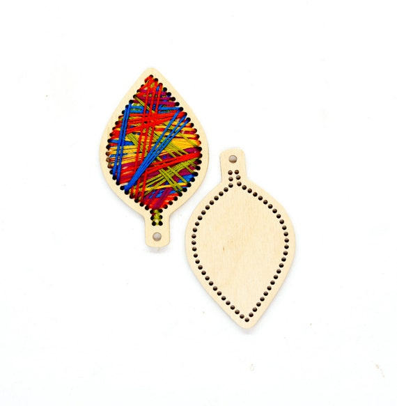 Wooden embroidery blank diy key pendant leaf shaped