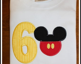 Mickey 6th Birthday Shirt .. Numbers 1-9 Available!