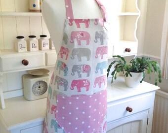 Elephants & Pink Dotty Apron, Elephants Apron, Ladies Adjustable Apron, Full Apron