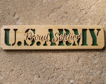 Army Elm Wood Plaque