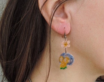 Flower and Skull Earrings - Copper Enameled Dangle Earrings in Yellow\Blue\Green colors