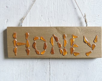 Honey sign – Wood and enameled copper handmade sign - Word sign