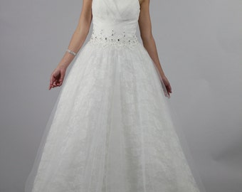 Sweetheart Rose Lace White Ball Gown Wedding Dress Backless Bridal Dress