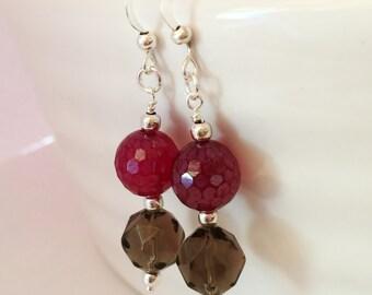 Smoky Quartz Earrings, Red Chalcedony Earrings Gemstone Earrings Red Earrings Brown Earrings Smoky Quartz Jewellery Droplet Earrings