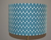 Handmade lampshade using repeated symmetrical Scandinavian inspired teal leaf pattern