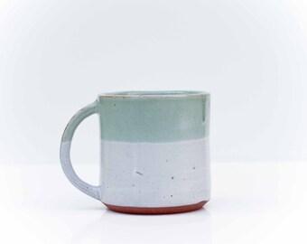 Green and White Stoneware Mug