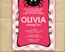 Itsy Bitsy Spider Invitation, Girl Birthday Party, Pink, 5 x 7 Printable Digital File
