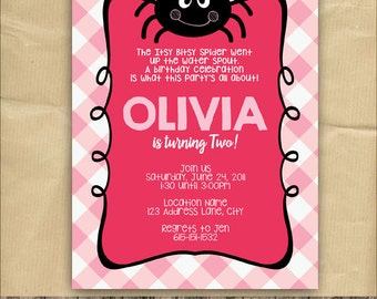 Itsy Bitsy Spider Invitation, Girl Birthday Party, Pink, 5 x 7 Printable Digital File