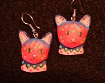 Red Cat Earrings