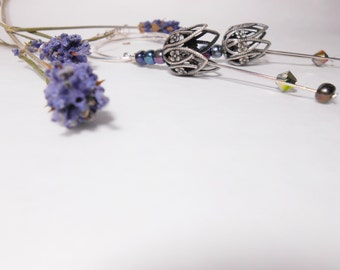 Dangle Flower Earrings -   Silver Tulip - Hoop earrings