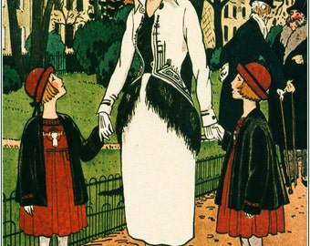 French fashion illustration woman and children 1920