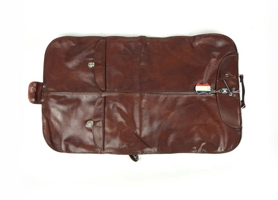 Faux leather garment bag