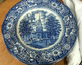 Set of (8) Blue and White English Ironstone Dinner Plates