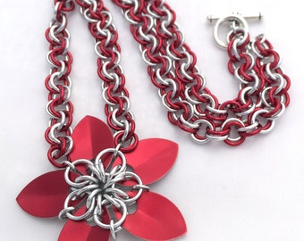 Scale Flower Pendant Necklace - Bright Red Anodised Aluminium Scales & Rings