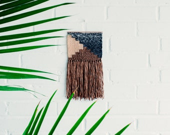 S A L E ! Woven Wall Hanging / Handwoven Tapestry / Weaving Fiber Art / Bronze Pink Charcoal & White Stairs