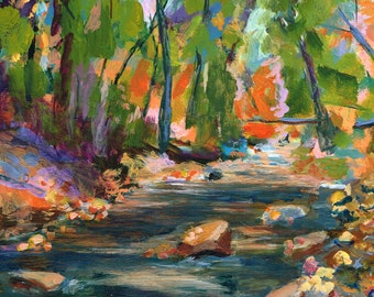 River Leaves by Janice Tingum original acrylic painting on YUPO synthetic paper