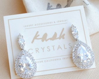 Statement Teardrop Wedding Earrings: Cubic Zirconia Bridal Earrings