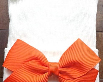 Orange Hospital Hat  - Newborn Bow Hat - Bow Hospital Hat  - Baby Girl Hat  - Newborn Baby Girl Hat - Orange Baby Hat - Bow Hospital Hat