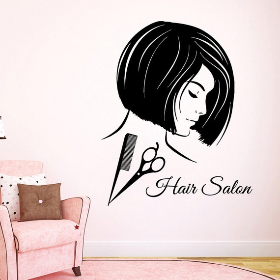 Hair salon wall decals fashion girl hairdressing beauty salon for Salon pictures for wall