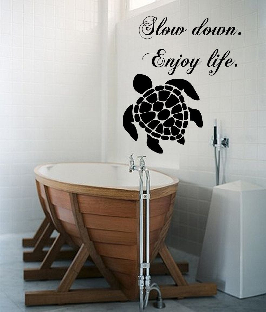 turtle wall decals quote slow down enjoy life sea ocean. Black Bedroom Furniture Sets. Home Design Ideas