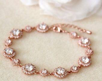 Rose Gold Bridal Bracelet Rose Gold Wedding Jewelry Round Cubic Zirconia Rose Gold Bracelet Rose Gold Bridal Jewelry Crystal Bracelet