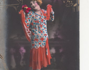 French Woman 1920s Pochoir Dress Postcard,Mandolin&Sacre Coeur In Gold