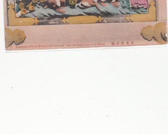Antique Japanese Postcard Monkeys, See No Evil,Hear No Evil,Speak No Evil