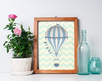 Hot Air Balloon Print - 8x10 Nursery Art,  Hot Air Balloon Decor, Home Decor, Nursery Decor, Printable Art, Wall Art
