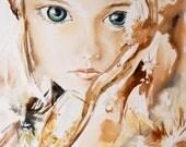 Woman Portrait Watercolor Painting Art Print, Amber Woman Fantasy Watercolour Art