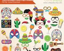 Cinco De Mayo Photo Booth Prop, Mexican Fiesta Photo Booth Prop, Party Cinco De Mayo Printable