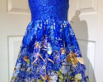 Girls party dress, age 5, sparkly blue fairies, fully lined