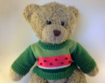 14 Inch Bear Sweater, fits Bears like Teddy Bear. Knitted Bear Green Sweater. Knitted Teddy Bear Clothes and Accessories. Ready to ship!