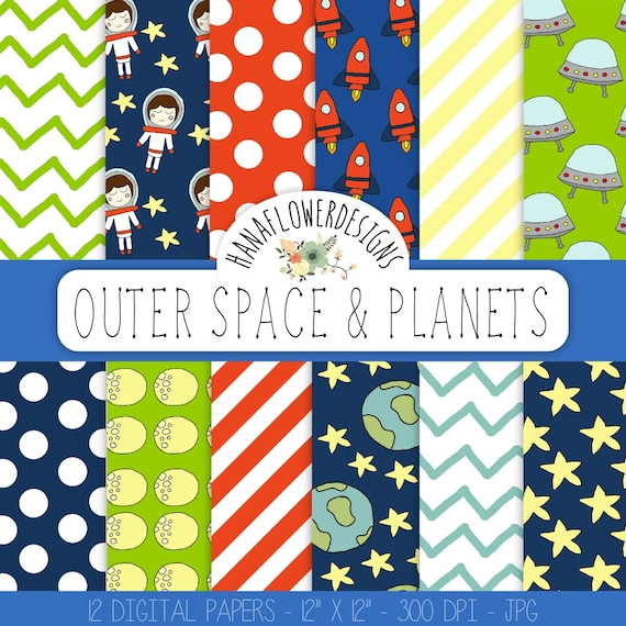 Space digital paper outer space and planets by for Outer space paper
