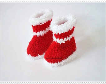 Christmas Baby Booties Baby boots Red Booties Crochet Baby Shoes Newborn boots  Christmas Baby Boots Christmas boots crib shoes