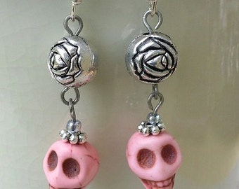 Skull & Rose Dangle Earrings