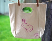 Organic Cotton Lunch Tote Mapo the Flemish Giant, hand painted eco friendly canvas tote with cut out handle, mini purse