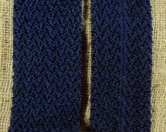 Vintage Rayon Crochet Necktie Square Ends