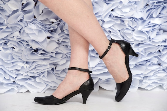 Black High Heel Leather Shoes / Bride Shoes / Elegant Women Ankle strap Shoes / Bridesmaid Heel Shoes / Prom Shoes / Evening Shoes -Yarin