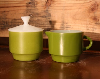 Anchor Hocking Fire King Avocado Green Cream and Sugar with Lid Set