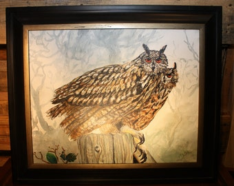 Vintage Framed Hand Painted Owl Picture