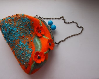 Orange Pumpkin blue Felted wool women  crossbody clutch purse bag handbag handmade