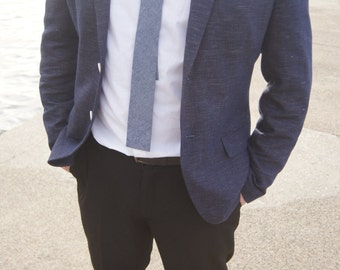 Skinny Square Chambray Necktie