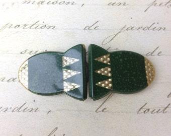 Vintage Celluloid green Buckle