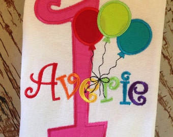 custom embroidered personalized balloon birthday shirt