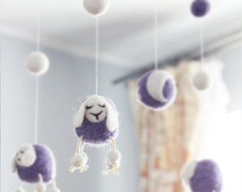 Needle Felted Sheep Baby Mobile, Nursery Decor, Baby Shower Gift