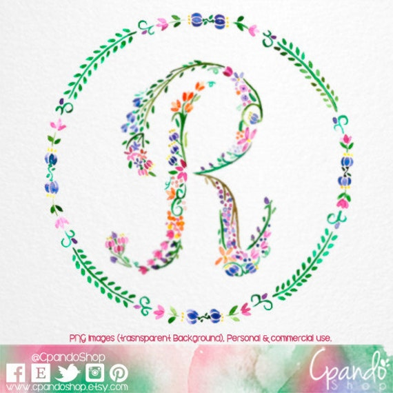 This Would Be Cute To Change Into The Welcome Letter To: Letter R Floral R Monogram R Initial R Letter Clip Art