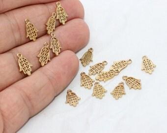 15 Pcs 8x12mm Raw Brass Hamsa Pendant, Hamsa Charms, Fatima Hand , Hamsa Jewelry, Hamsa Settings,  SOM19