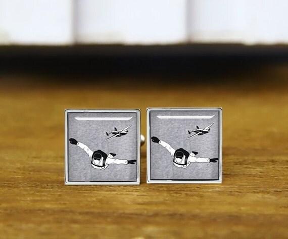skydiving cufflinks, custom silhouette cufflinks, personalized cufflinks, custom wedding cufflinks, round, square cufflinks, tie clips,  set
